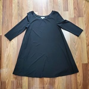 Leith Black Cropped Sleeve Swing Dress